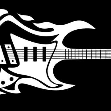 Electric Guitar Flames Illustration  by hobrath