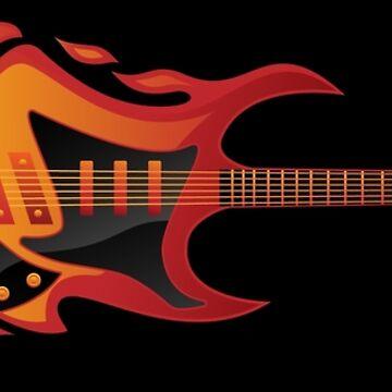 Electric Guitar Fire Illustration  by hobrath