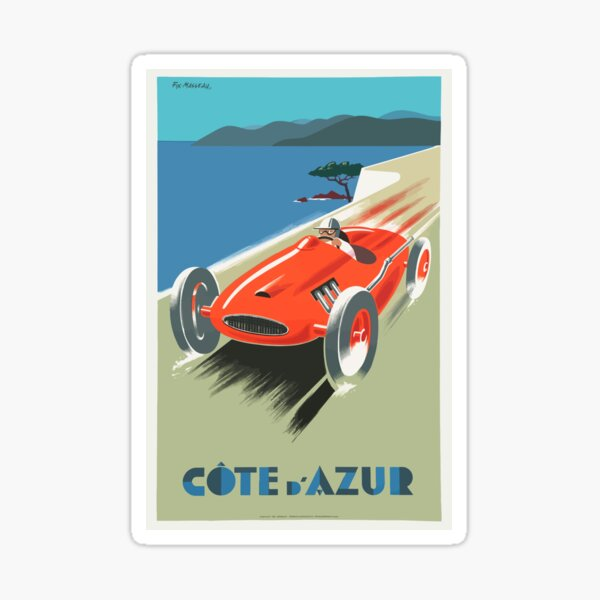 Vintage Cote D'Azure France French Riviera Travel Vacation Holiday Advertisement Speed Racer Red Race Car Sticker