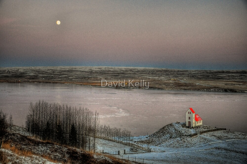Moon and Chapel by David Kelly