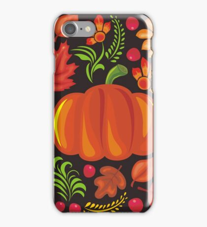 Pumpkin with flowers in Ukrainian style iPhone Case/Skin