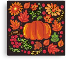 Pumpkin with flowers in Ukrainian style Canvas Print