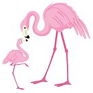 Pink flamingo mom the baby watercolors by artonwear