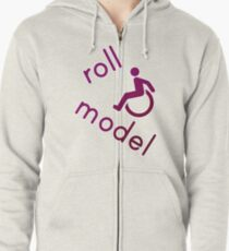 Roll Model - Disability Tees - in purple Zipped Hoodie