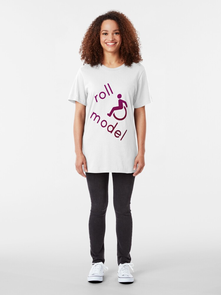 Alternate view of Roll Model - Disability Tees - in purple Slim Fit T-Shirt