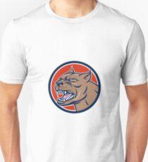 Pitbull Dog Mongrel Head Circle Cartoon T-Shirt