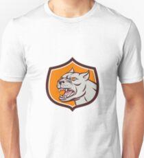 Pitbull Dog Mongrel Head Shield Cartoon T-Shirt