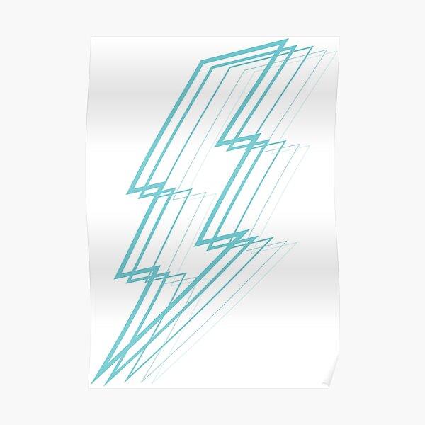 Turquoise Lightning Poster