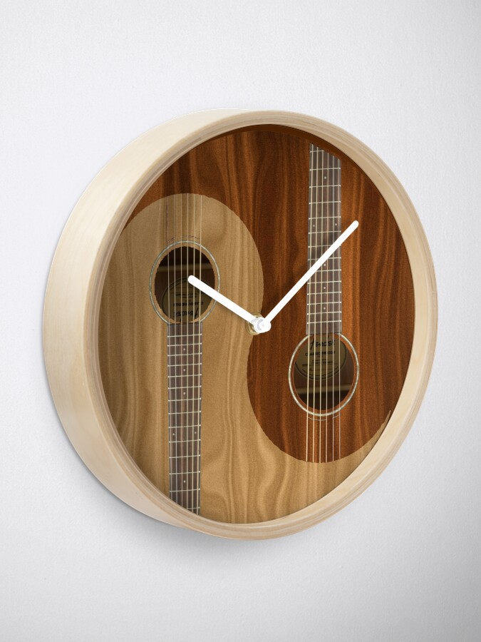 Yin Yang Wooden Guitars Clock