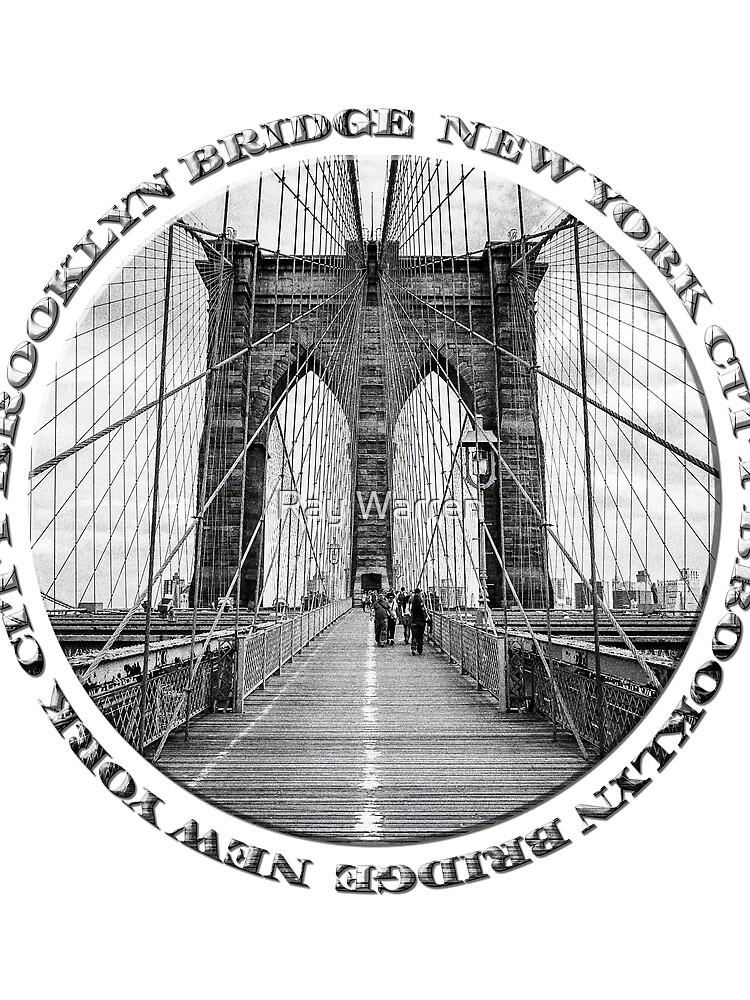 Brooklyn Bridge New York City (black & white badge style on white) by RayW
