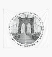 Brooklyn Bridge New York City (black & white badge style on white) Wall Tapestry