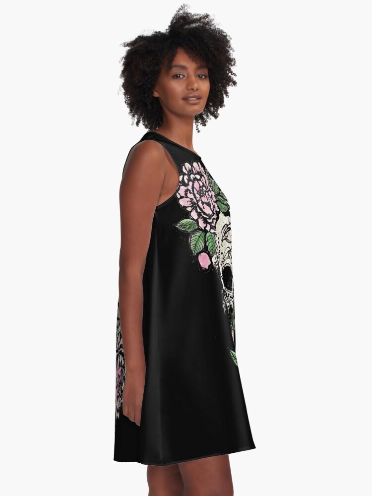 Alternate view of Sugar Skull & Roses A-Line Dress