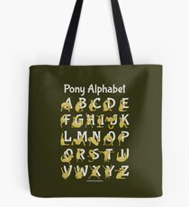 Pony Alphabet, Brown Tote Bag