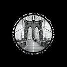 Brooklyn Bridge New York City (black & white badge emblem on black) by Ray Warren