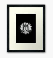 Brooklyn Bridge New York City (black & white badge style on black) Framed Print