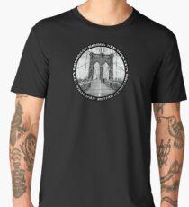 Brooklyn Bridge New York City (black & white badge emblem on black) Men's Premium T-Shirt