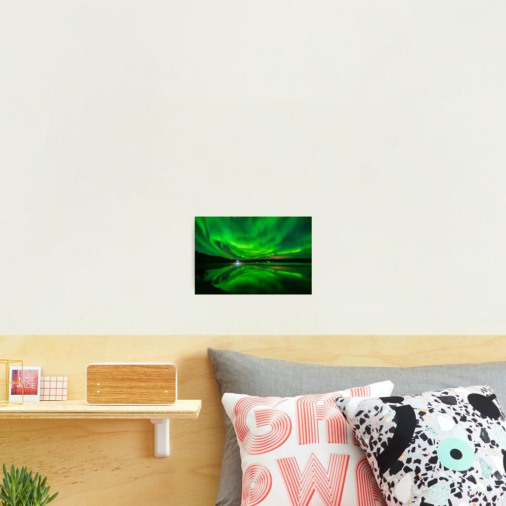 Vibrant Aurora Reflection Over Lake Photographic Print