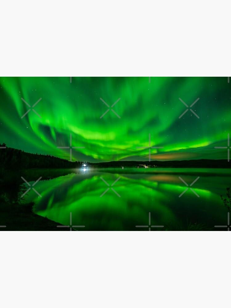 Vibrant Aurora Reflection Over Lake by fairbanksaurora