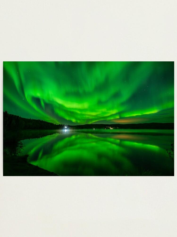 Alternate view of Vibrant Aurora Reflection Over Lake Photographic Print
