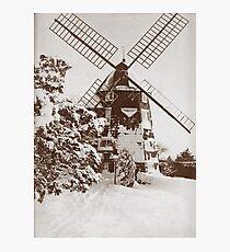Winter Windmill Photographic Print