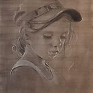 Lucy - drawing in charcoal and conte on watercolour wash by AvrilThomasart