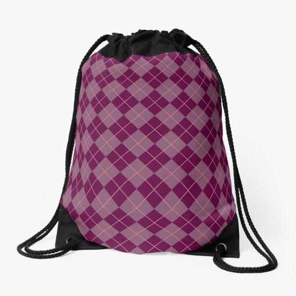 Maroon Argyle Pattern Drawstring Bag