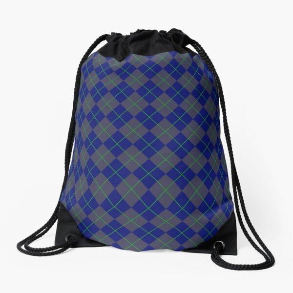 Blue Argyle Pattern Drawstring Bag