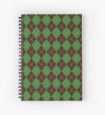 Green Argyle Pattern Spiral Notebook