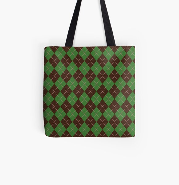 Green Argyle Pattern All Over Print Tote Bag