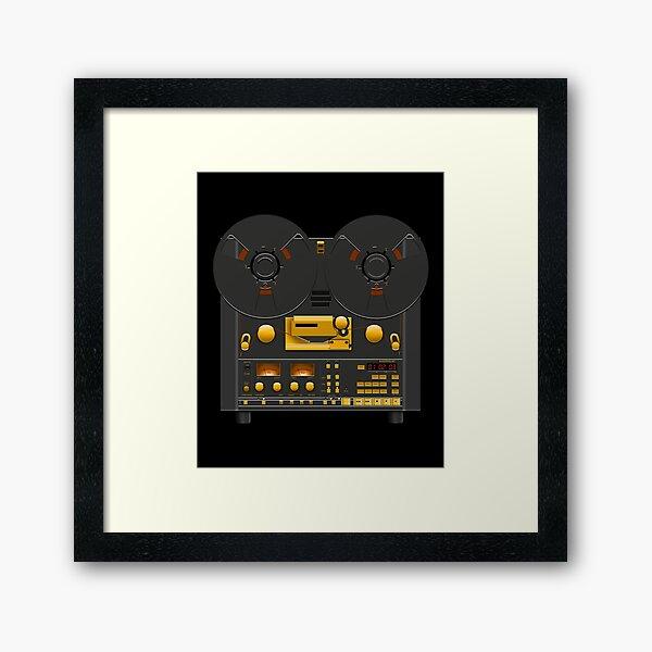 Reel to Reel Tape Recorder Black Panel Gold Hardware Framed Art Print