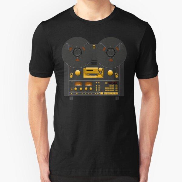 Reel to Reel Tape Recorder Black Panel Gold Hardware Slim Fit T-Shirt