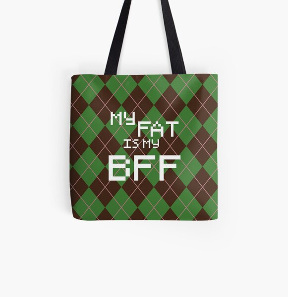 My Fat is My BFF Pixel Style (Round) All Over Print Tote Bag