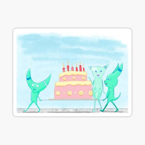 Monsters Carrying Cake Sticker