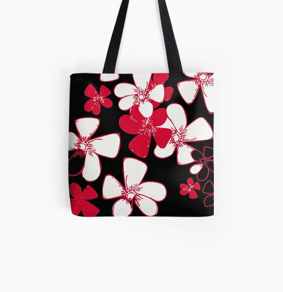 Pink White Flower Print All Over Print Tote Bag