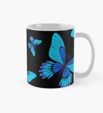 Blue morpho butterflies on black  Mug