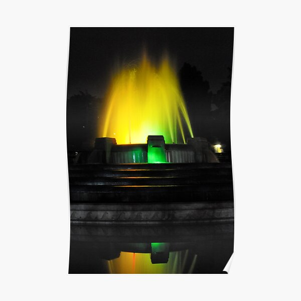Mulholland Fountain at Night Poster