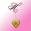 H Golden Heart Locket by Chere Lei