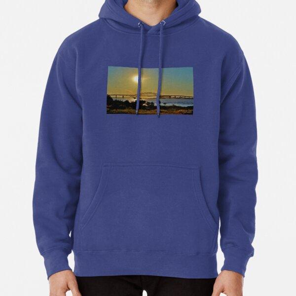 Summer Sunset Over Robert Moses Beach Bridge Pullover Hoodie