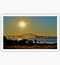 Summer Sunset Over Robert Moses Beach Bridge Sticker