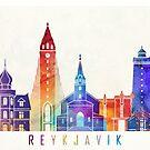 Reykjavik landmarks watercolor poster by paulrommer