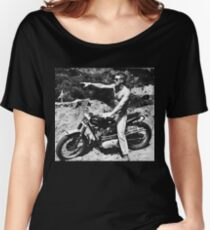 Steve McQueen Motorcycle Women's Relaxed Fit T-Shirt