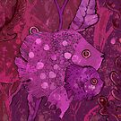 Fish Family in Seaweed, Burgundy and Purple  by clipsocallipso