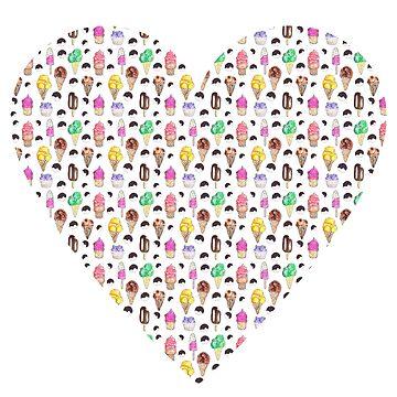 Ice-cream Flavors Pattern In Heart by Neginmf