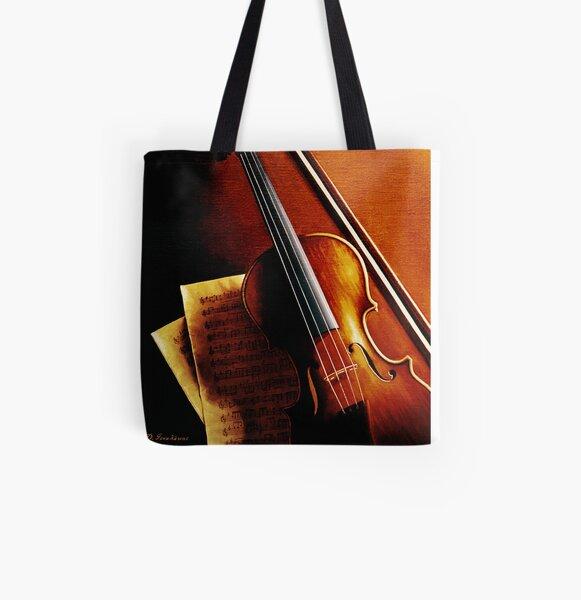 Violin All Over Print Tote Bag