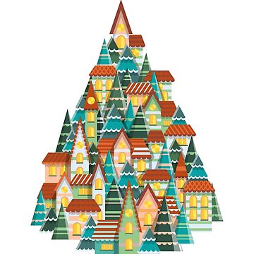 Christmas house and tree illustration by creaschon