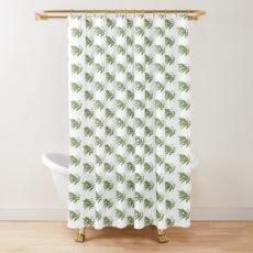 Watercolor fern and flowers Shower Curtain