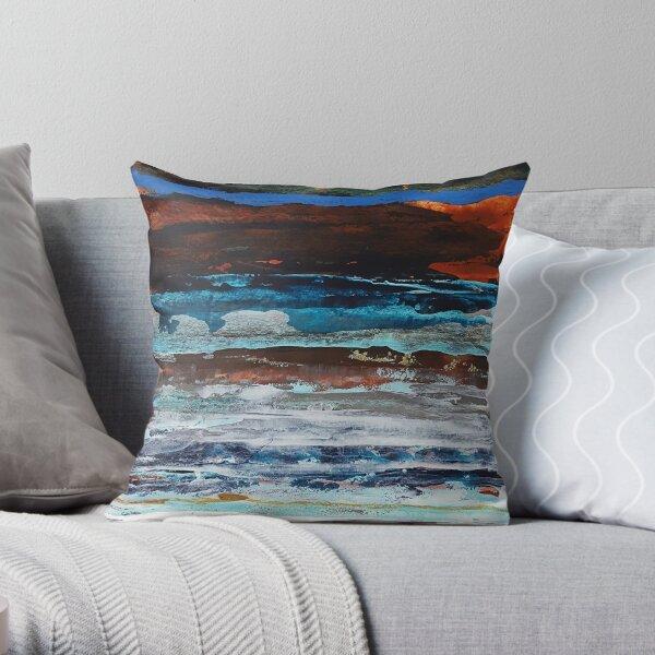 Paysage abstrait bleu et brun Coussin