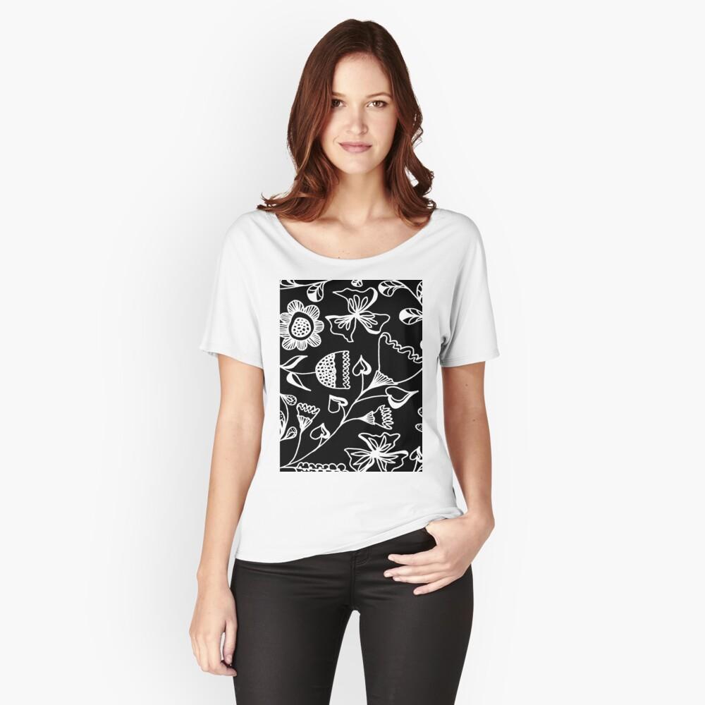 Folk Art in Schwarz Weiß Baggyfit T-Shirt