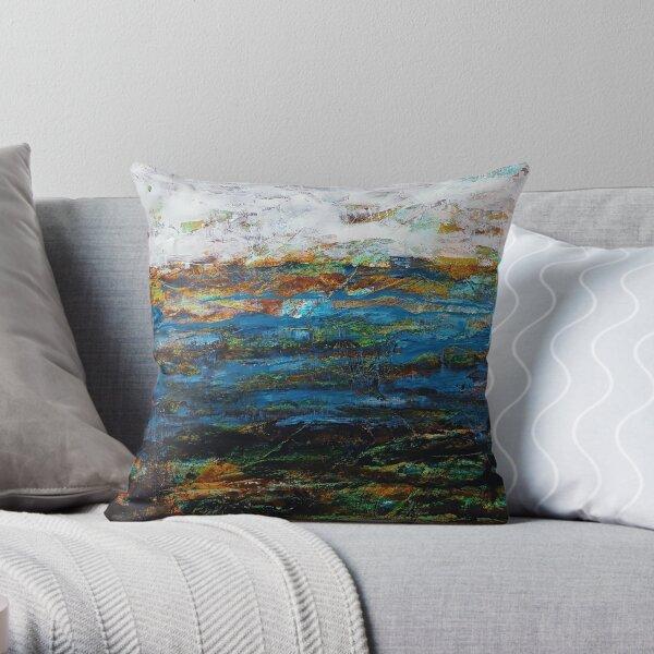 Paysage abstrait bleu, blanc, brun  Coussin