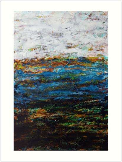 Blaue wei e braune abstrakte landschaft kunstdruck von for Braune klebefolie